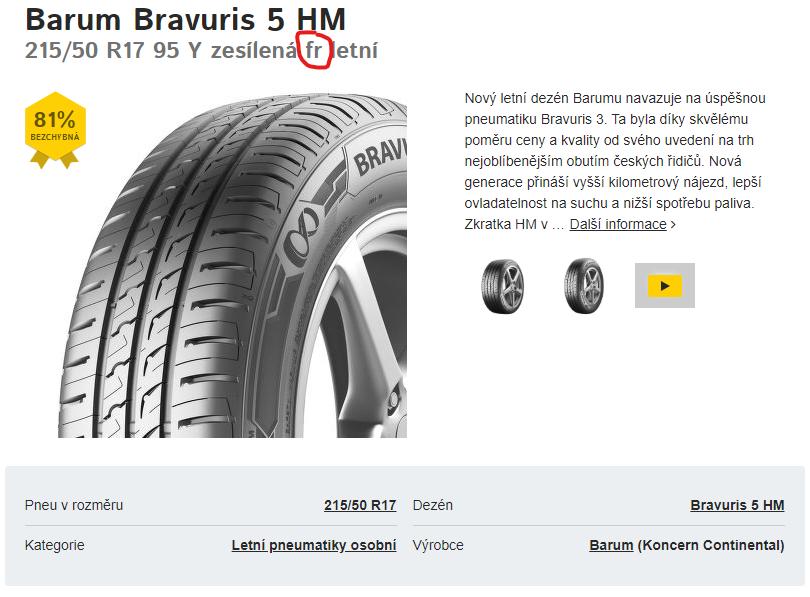 FR, ochrana ráfku, značení pneu, pneumatiky s ochranou ráfku