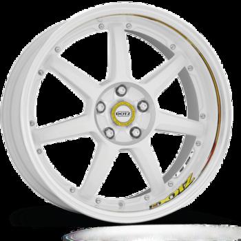 Dotz Fast Seven drift Alu kolo 8x18 5x112 ET48 CB70.1 | leštěný střed a lem límce / bílý lak