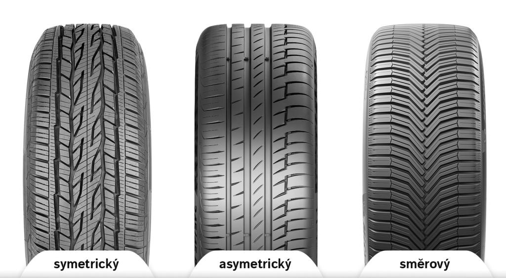 Srovnání symetrický, asymetrický a směrovy dezén