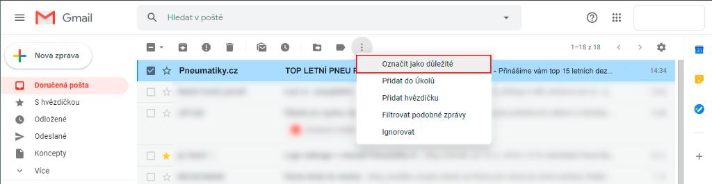 Označit e-mail v G-mailu jako důležitý