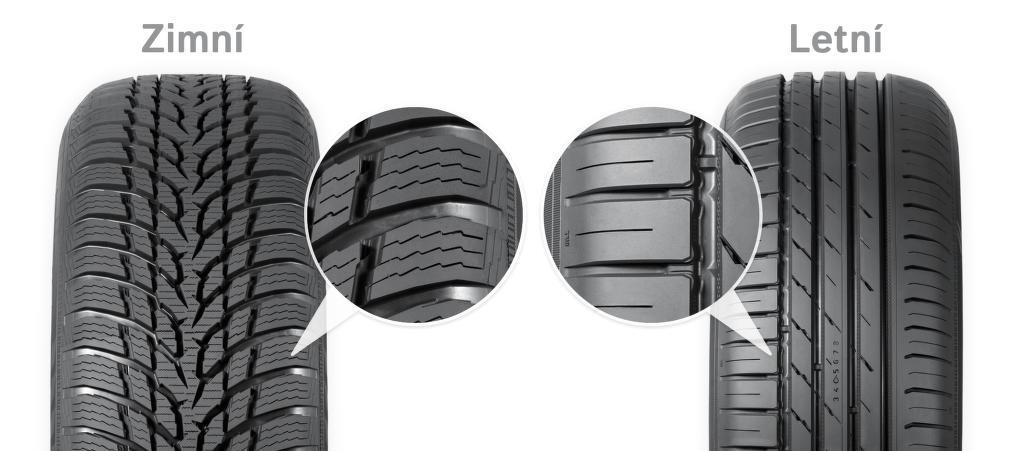 Rozdíly dezénu zimní a letní pneumatiky