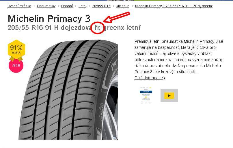 Označení ochrany ráfku pneu fr